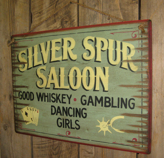 Western Wall Sign: Silver Spur Saloon Right View