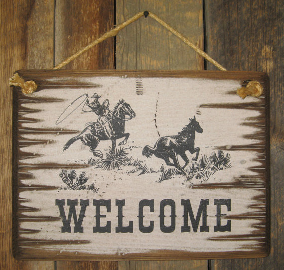 Western Wall Sign Business: Welcome with Roping Cowboy