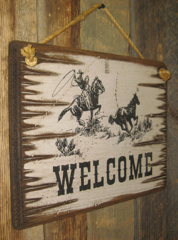 Western Wall Sign Business: Welcome with Roping Cowboy Left Side