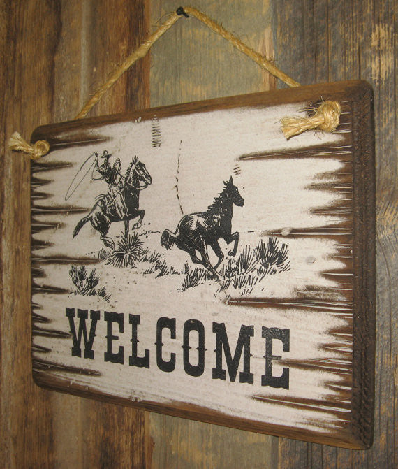 Western Wall Sign Business: Welcome with Roping Cowboy Right Side