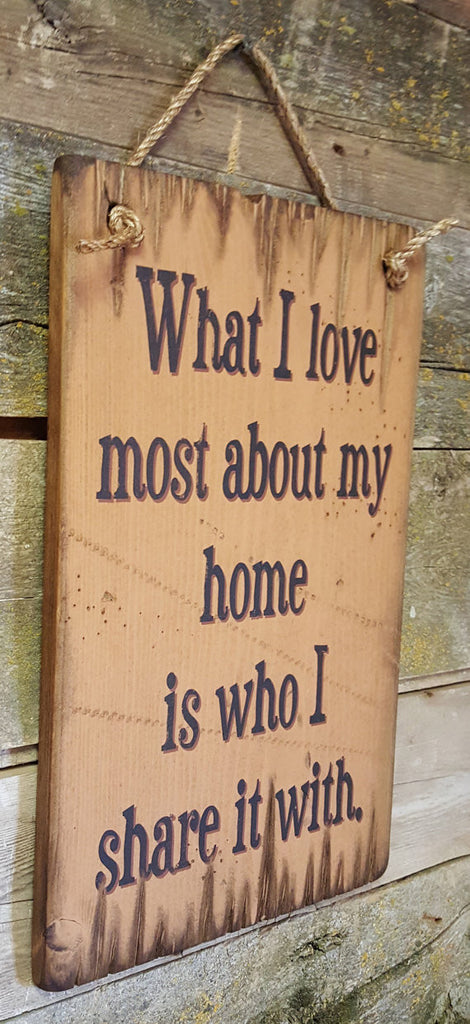 Western Wall Sign Home: What I Love Most About My Home Is Who I Share It With Left View