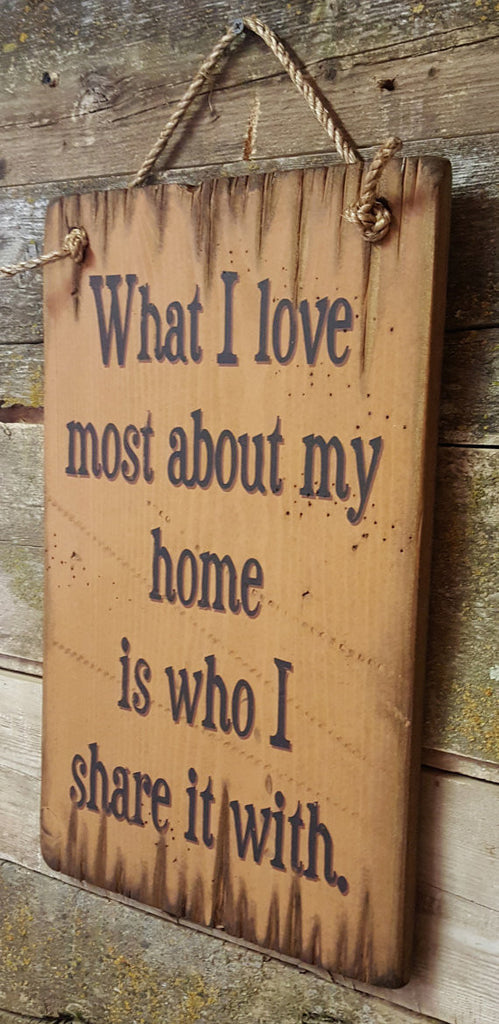 Western Wall Sign Home: What I Love Most About My Home Is Who I Share It With Right View