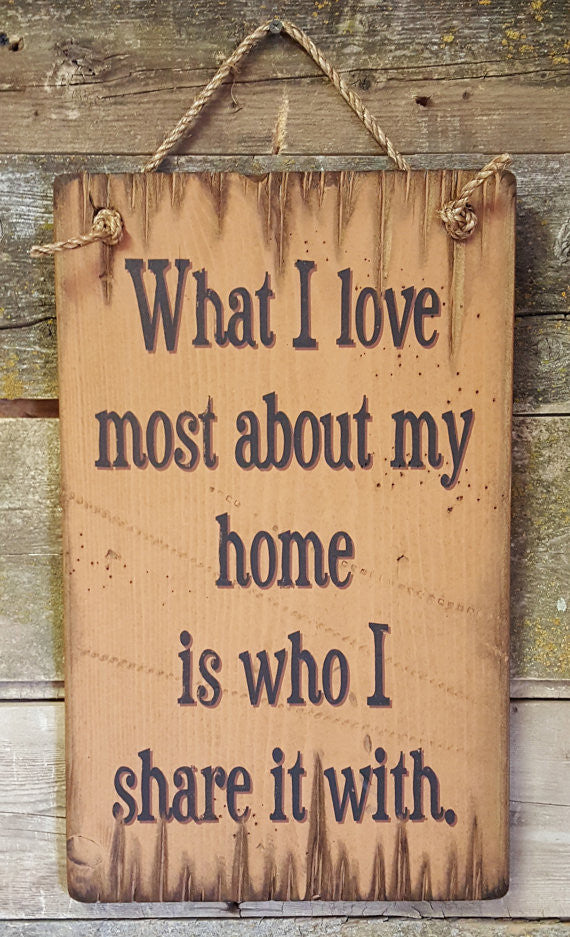 Western Wall Sign Home: What I Love Most About My Home Is Who I Share It With
