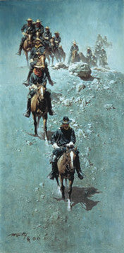 "Art Ceramic Tile ""Single File"" by Western artist Frank McCarthy"