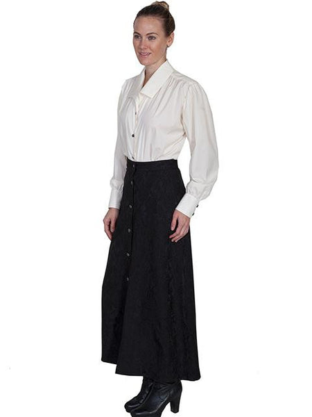 Scully Old West Wahmaker Victorian jacquard button front, black, walking skirt, front