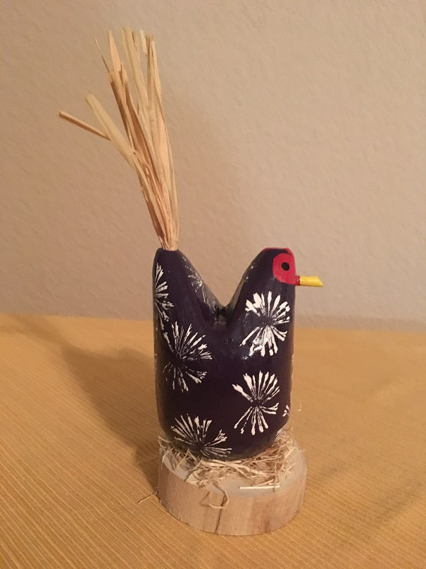 Edith John Small Hand Carved Nesting Chicken Purple Side