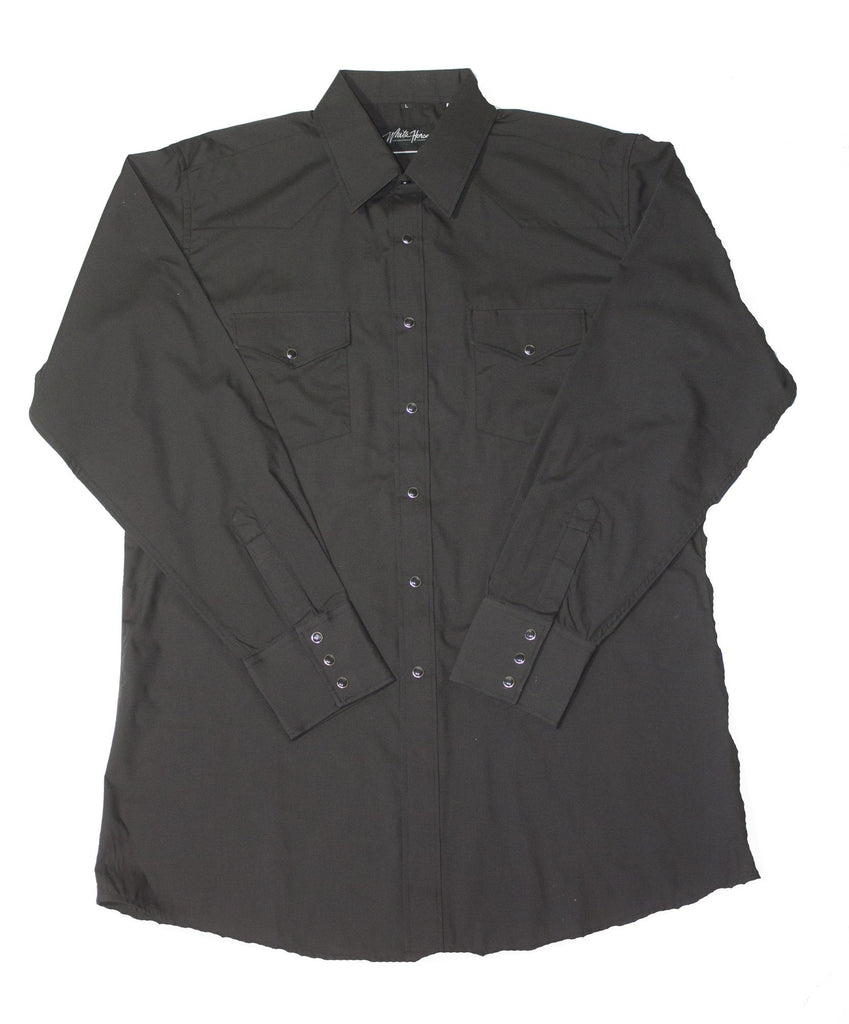 White Horse Apparel Men's Western Shirt Solid Black