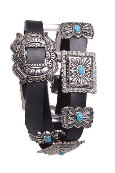 Western Fashion Belt Accessory: Leather with Conchos Faux Turquoise