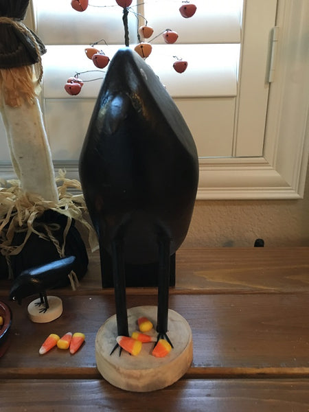 Edith John Hand Carved Crow Large Standing Front