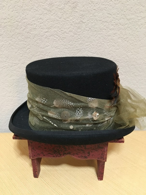 Patricia Wolf Steampunk Wool Tophat with Feathers Side