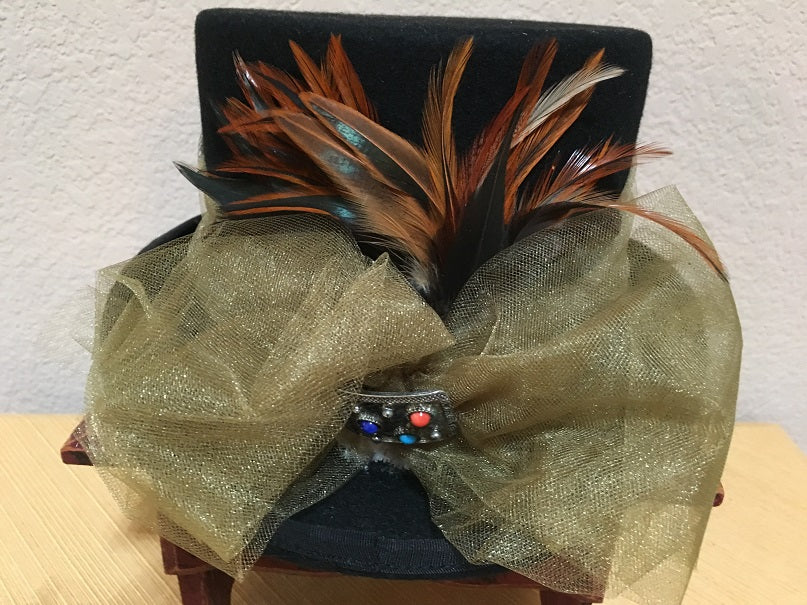 Patricia Wolf Steampunk Wool Tophat with Feathers on Back