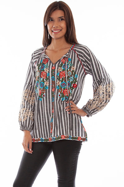 Scully Honey Creek Collection Ladies' Striped Floral Top Front #719697