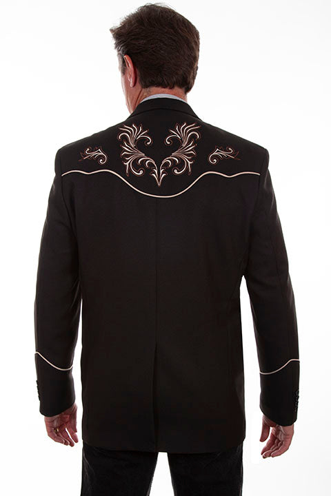 Scully Men's Western Blazer woth Floral Scroll Embroidery Black Back