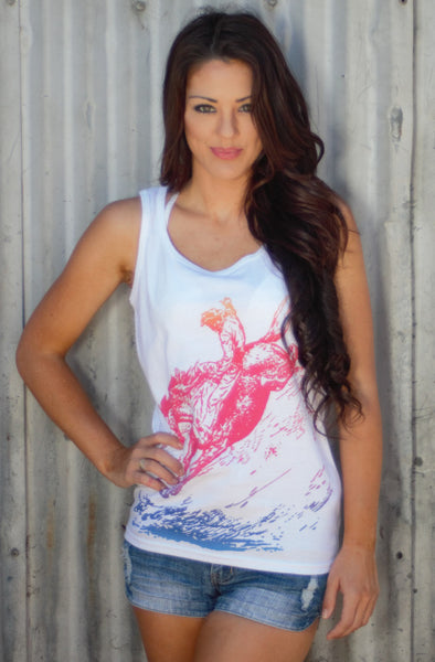 Original Cowgirl Clothing Ladies' Tank Ombre Bucking Bronc