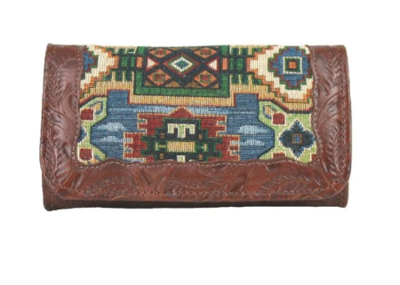 American West Bella Beau Collection Tri-Fold Wallet Front
