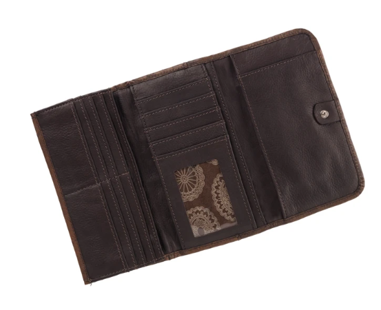 American West Bella Beau Collection Tri-Fold Wallet Interior