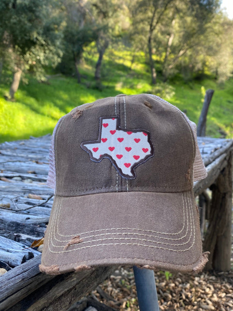 Original Cowgirl Clothing Ball Cap Texas with Hearts Chocolate Brown #2702020B