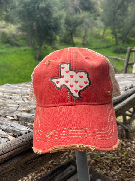 Original Cowgirl Clothing Ball Cap Texas with Hearts Red #2702020A