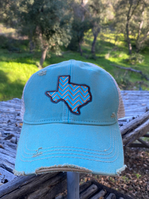 Original Cowgirl Clothing Ball Cap Texas Chevron Turquoise #2702022A
