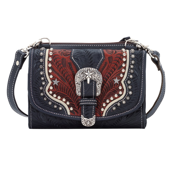 American West Texas Two Step Crossbody Wallet Combination, Navy Front View