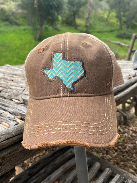 Original Cowgirl Clothing Ball Cap Texas Chevron Chocolate #2702022B