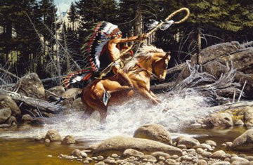 "Art Ceramic Tile ""The Challenge"" by Western artist Frank McCarthy"