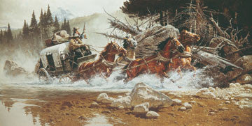 "Art Ceramic Tile ""The Fording"" by Western artist Frank McCarthy"