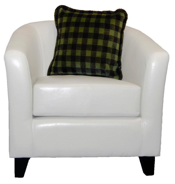 Denali Blankets Buffalo Plaid Check Thyme Chocolate Pillow on Chair