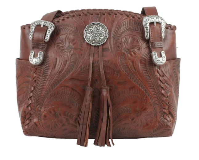 American West Lariats & Lace Zip Top Tote with Secret Compartment Dark Brown