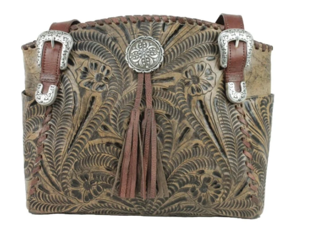 American West Lariats & Lace Zip Top Tote with Secret Compartment Distressed Charcoal