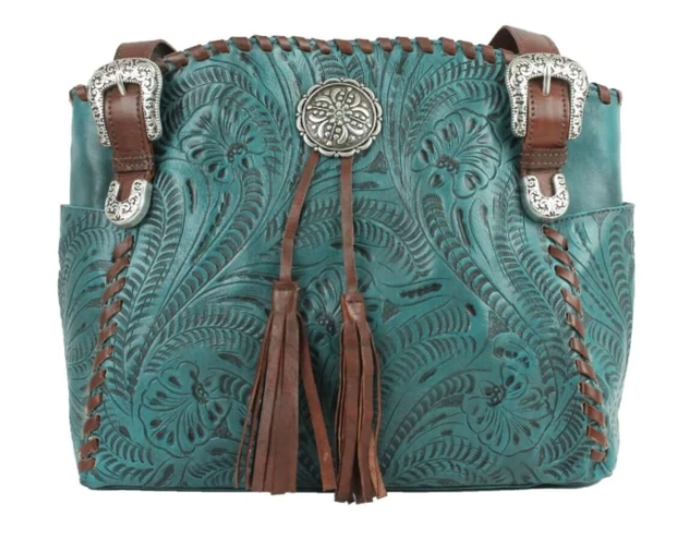 American West Lariats & Lace Zip Top Tote with Secret Compartment Dark Turquoise