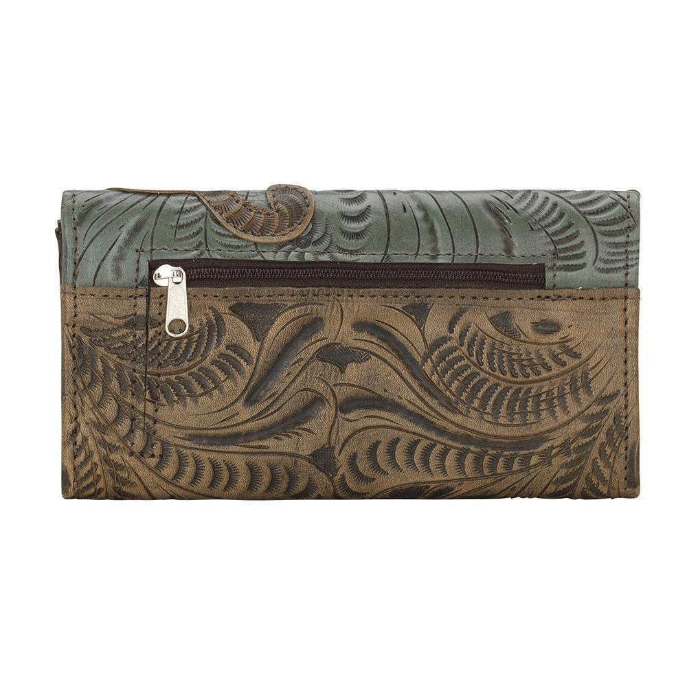 American West Annie's Secret Tri-Fold Wallet Tooled Decorated Back