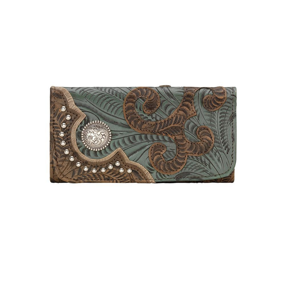 American West Annie's Secret Tri-Fold Wallet Tooled Decorated Turquoise