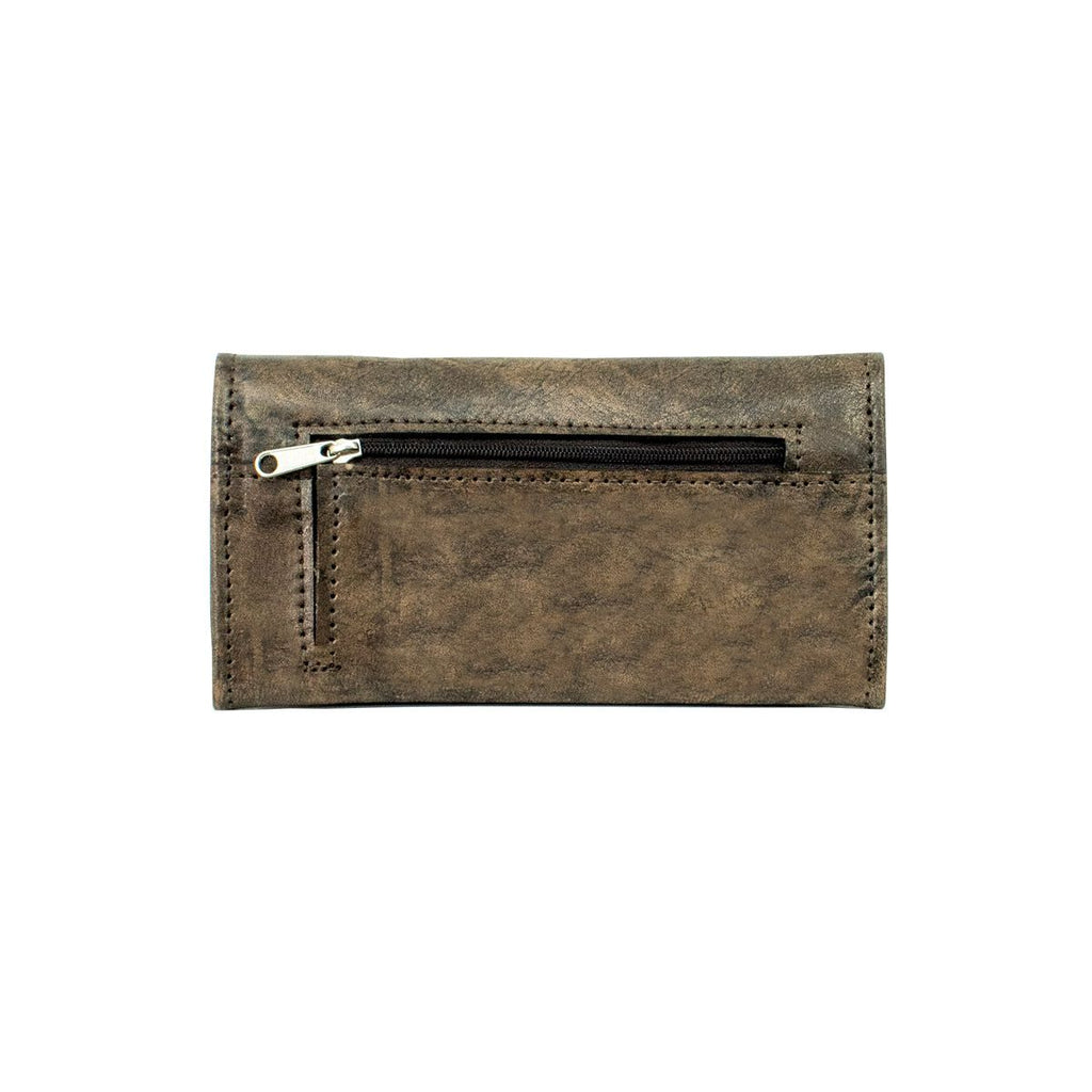 American West Tribal Weave Tri-Fold Wallet Distressed Charcoal Back #4483282