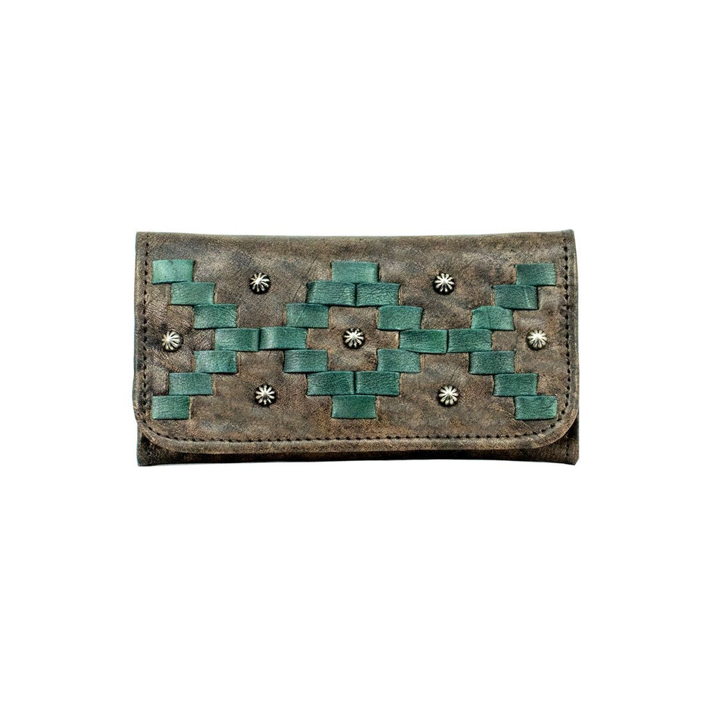 American West Tribal Weave Tri-Fold Wallet Distressed Charcoal #4483282