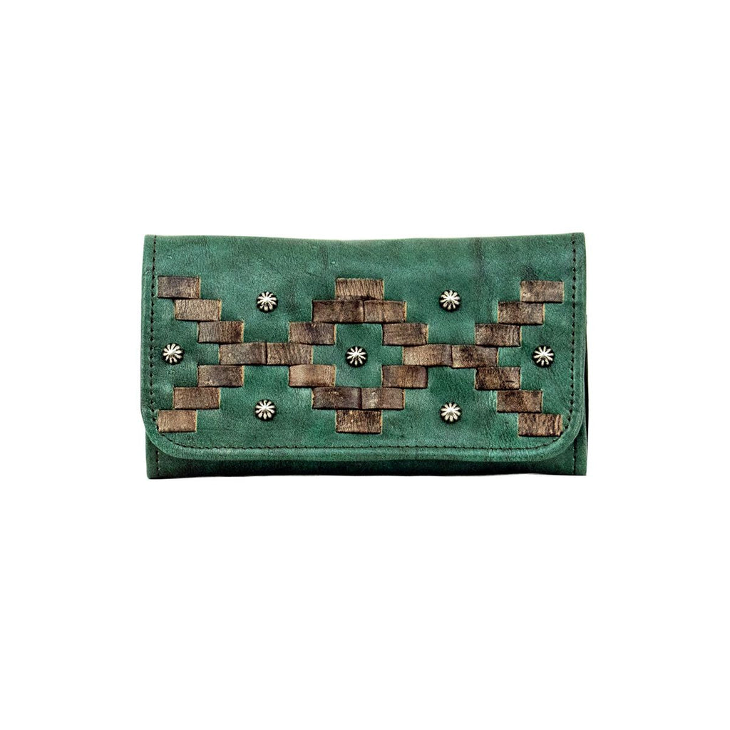 American West Tribal Weave Tri-Fold Wallet Turquoise #4478282