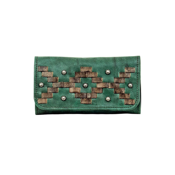 American West Tribal Weave Tri-Fold Wallet Golden Tan #4415282