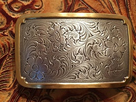 Retangle Trophy Buckle Silver Gold