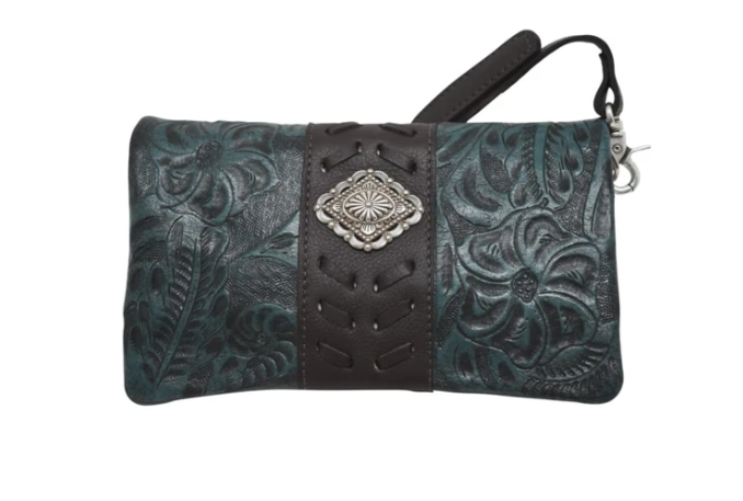 American West Grab and Go Foldover Crossbody Dark Turquoise