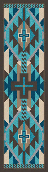 American Dakota Rug Rustic Cross Turquoise Rectangle