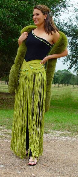 Long Fringe Wrap Belt Yellow Turquoise Suede with Crystals