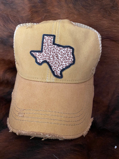 Original Cowgirl Clothing Ball Cap Texas Leopard Spicy Mustard