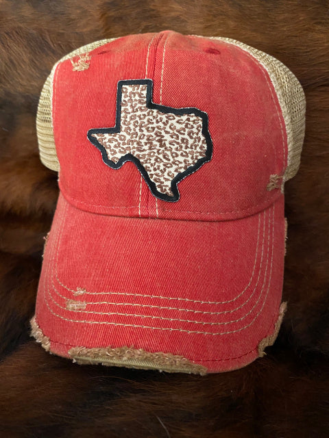 Original Cowgirl Clothing Ball Cap Texas Leopard Red