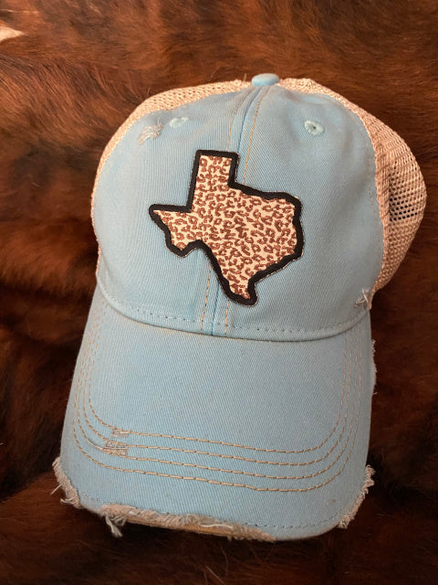 Original Cowgirl Clothing Ball Cap Texas Leopard Turquoise
