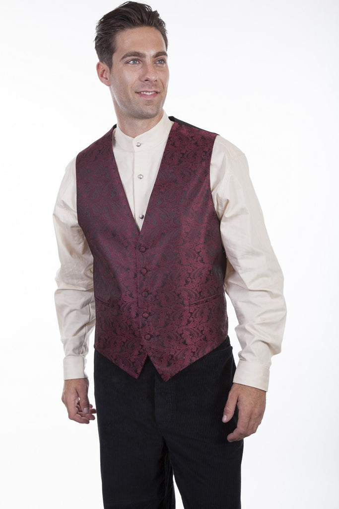 Scully Mens Rangewear Old West Vest Paisley No Lapels Burgundy