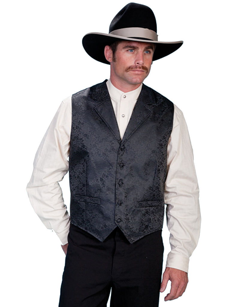 Scully Mens Old West Rangewear Vest with Dragon Print Black