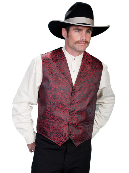 Scully Mens Old West Rangewear Vest with Dragon Print Red