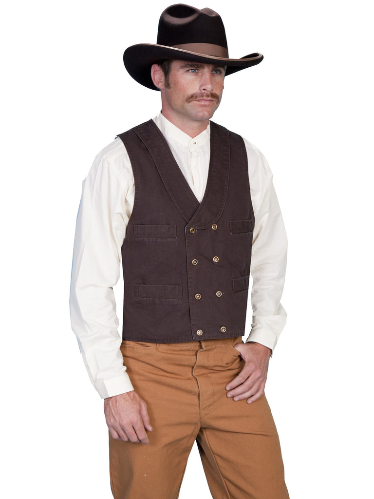Scully Men's Old West Rangewear Double Breasted Cotton Vest Walnut
