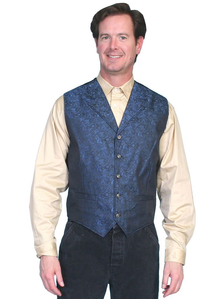 Scully Mens Rangewear Old West Vest Classic Blue