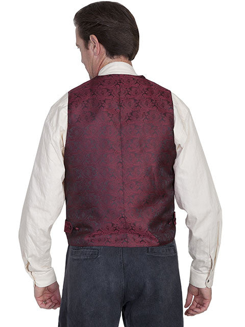 Scully Mens Rangewear Old West Vest with Wide Lapels Burgundy Back
